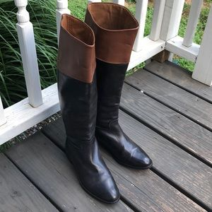 Zara Leather Two Tone Riding Boots Spain